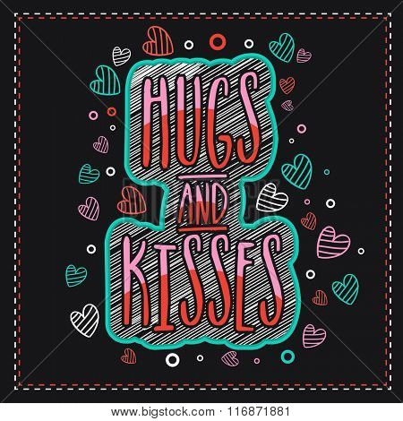 Elegant greeting card design with stylish text Hugs and Kisses for Happy Valentine's Day celebration.