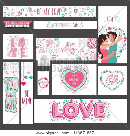 Social Media post and header set with creative elements for Happy Valentine's Day celebration.
