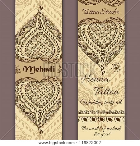 Vector Set Of Banners Or Cards In Indian Ornamental Style. Mehndi Floral Ornament