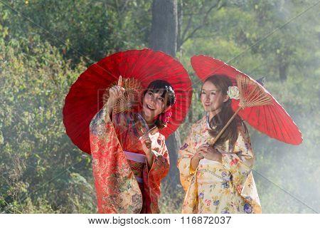 Japanese Kimono Women  Looking