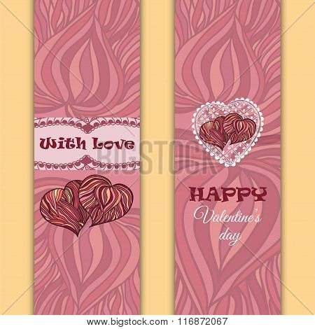 Vector Set Of Banners Or Cards. Valentine's Day Theme