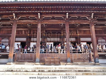 Tourists on Amida-do, hall of Eikando temple in Kyoto, Japan.