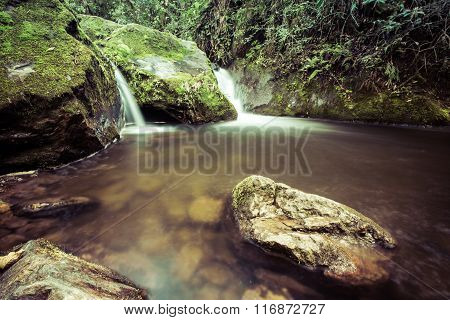 waterfalls in the forest, waterfall in the jungle, jungles, green mountains,