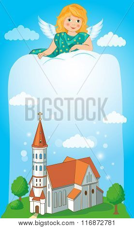 Christian Church With Cross. Vector Illustration. Christian Church Art. Church Architecture. Church And Baptism. Church Banners. Christian Discipline. Cross In The Sky. Church. Religion. Easter Card.