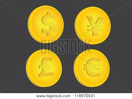 Gold Coins With Currency Symbols Vector Illustration