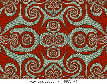 Symmetrical Textured Background With Spirals. Gray And Red Palette. Computer Generated Graphics.