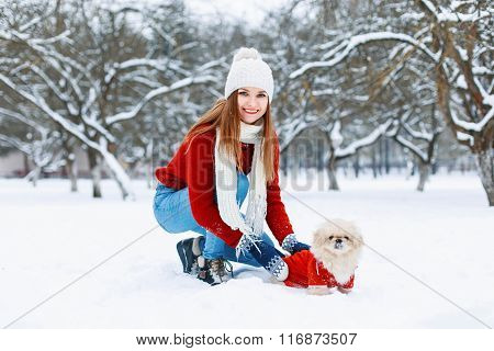 Beautiful Girl In Red Knitted Sweater Walking A Dog On A White Snowy Background.