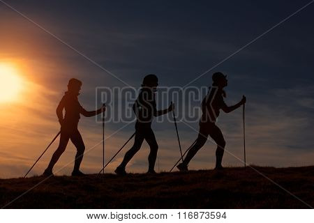 Nordic Walking In Silhouette At Sunset