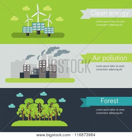 ecological horizontal banners vector illustration concept. Template for website and mobile appliance