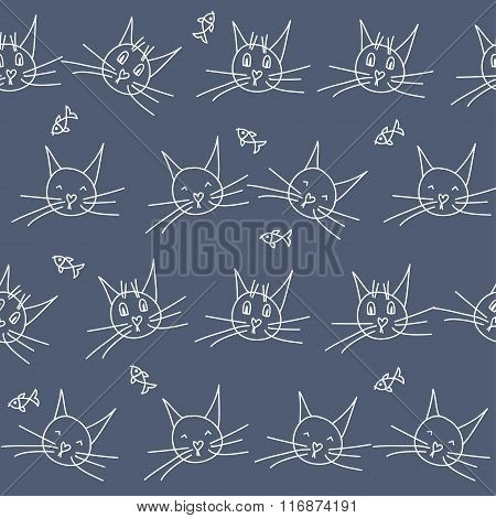Hand Drawn Doodle Seamless Pattern Background. Abstract Geometric Handmade Cats