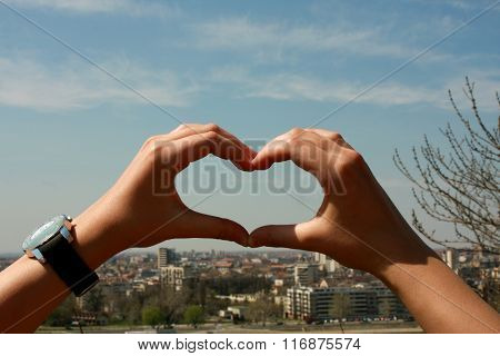 Loving My City - Hands In Form Of Heart