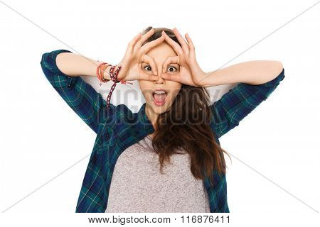 happy teenage girl making face and having fun