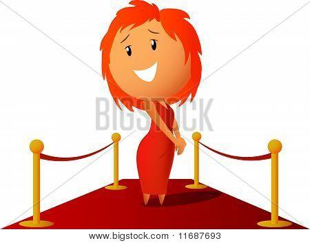 Beauty cute girl in red dress prepare get award