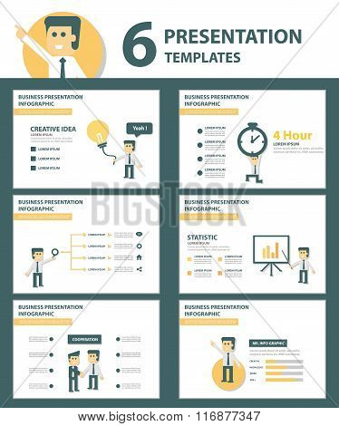 Businessman presentation templates Infographic elements flat design set