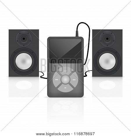 player with speakers