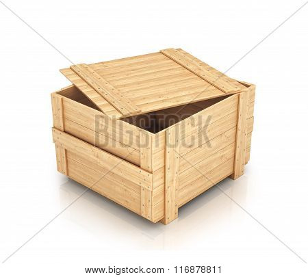 Half-open Wooden Box Isolated On White
