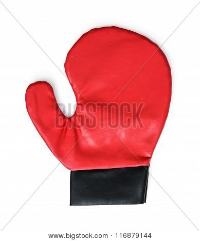 Red Boxing Glove On The White Background