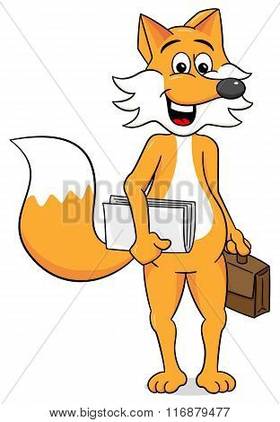 Business Fox With A Briefcase And Papers