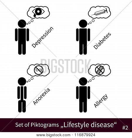 Set Of Lifestyle Disease Pictograms #2