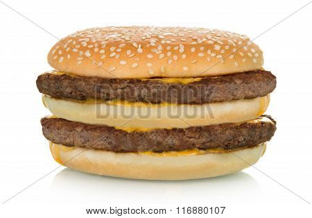 double hamburger with beef steak isolated on white background