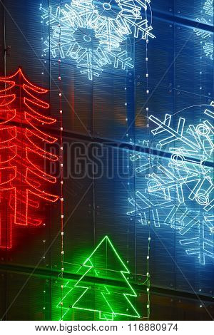 Christmas Lights Decoration On A Building Facade