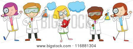 Scientists male and female doing experiment illustration