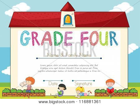 Diploma template for grade four students illustration