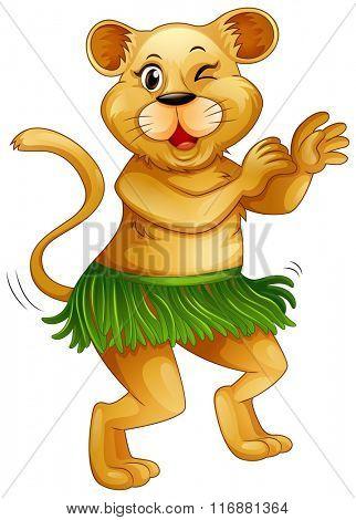 Happy lion dancing alone illustration