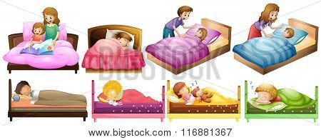 Boys and girls in bed illustration