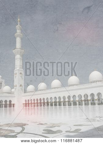 White mosque in Abu Dhabi in soft vintage style - Islamic landmark in the United Arab Emirates