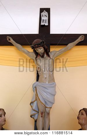 STITAR, CROATIA - AUGUST 27: Crucifix in the chapel in the village Stitar, Croatia on August 27, 2015