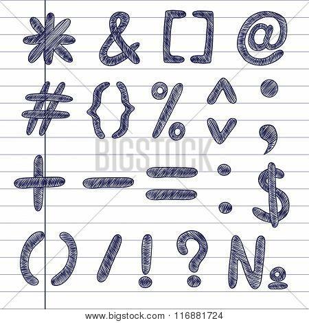 Symbols on notebook background