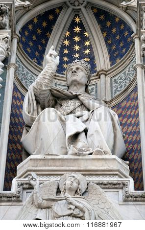 FLORENCE, ITALY - JUNE 05: Pope Eugenius IV, Portal of Cattedrale di Santa Maria del Fiore (Cathedral of Saint Mary of the Flower), Florence, Italy on June 05, 2015