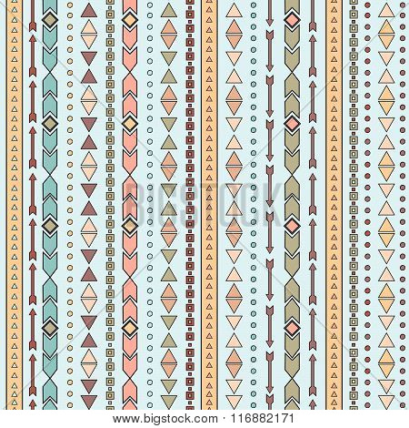 Vector tribal seamless pattern. Boho stripes background.