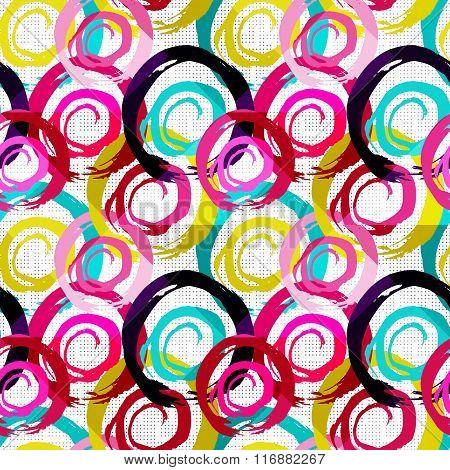 Grunge Colored Graffiti Seamless Pattern Vector Illustration