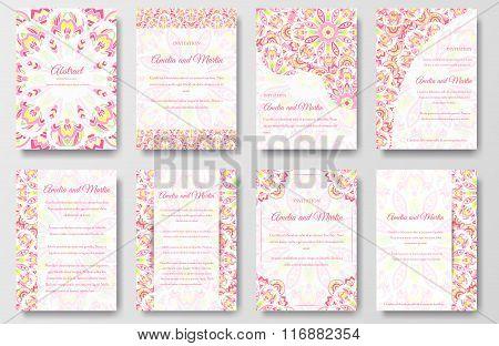 Set of beautiful invitation design flyer ornament concept. Vintage art traditional, Islam, arabic, i
