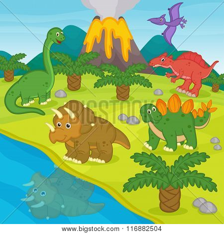 dinosaurs and prehistoric landscape