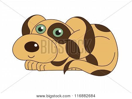 Vector illustration of cute funny doggy smiling