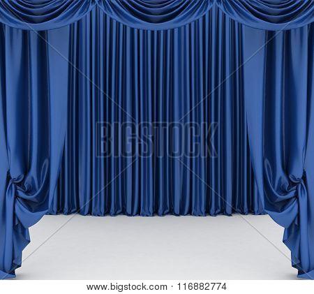 Open blue theater curtain. 3d illustration