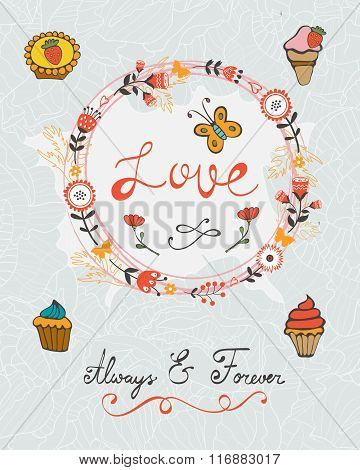 love concept card with cupcakes and floral wreath