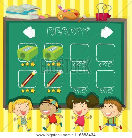 Game template with students in classroom illustration