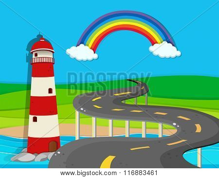 Nature scene with lighthouse and road illustration