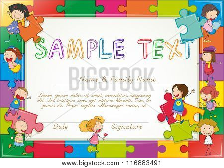 Diploma template with jigsaw and children background illustration