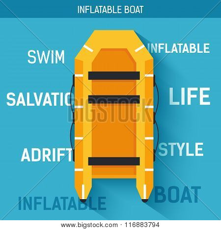 Boat for rafting or swimming on the water. Vector icon illustration background. Colorful template fo