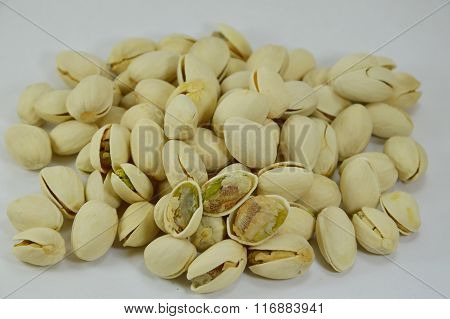 pistachio nut peel out on white background