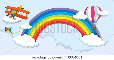Airplane and balloon over the rainbow illustration