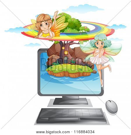 Computer screen with fairies on island illustration