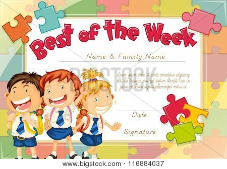 Diploma template with three children background illustration