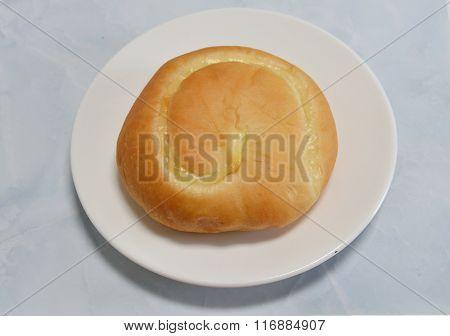 bread filling custard on dish