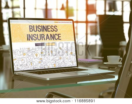 Business Insurance Concept on Laptop Screen.